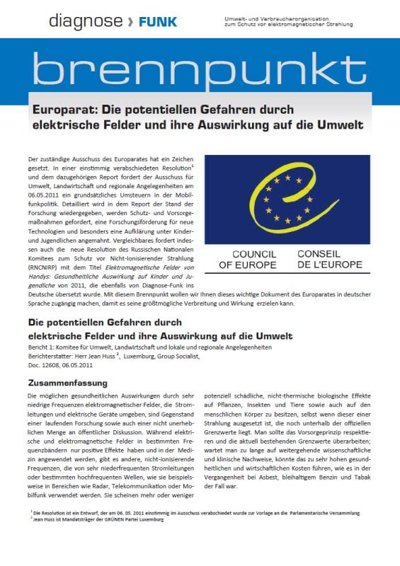Titelblatt der Publikation : Europarat: Die potentiellen Gefahren durch elektrische Felder und ihre Auswirkung auf die Umwelt