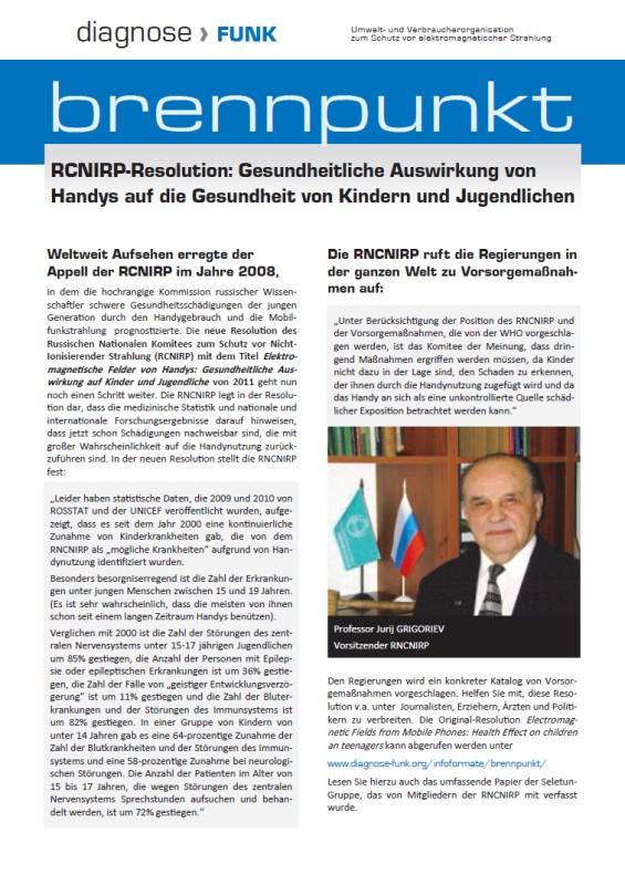 Titelblatt der Publikation : RCNIRP-Resolution: Gesundheitliche Auswirkung von Handys auf die Gesundheit von Kindern und Jugendlichen