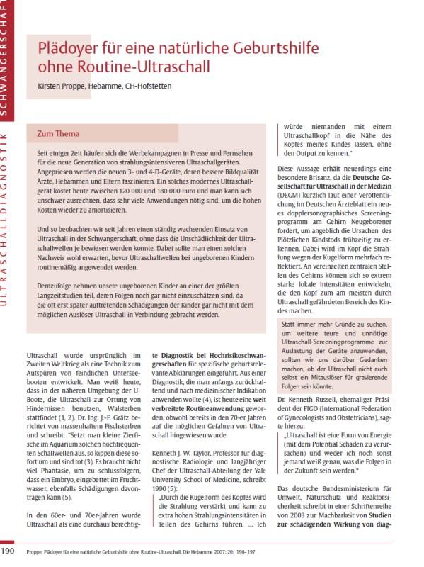 Titelblatt der Publikation : Plädoyer für eine natürliche Geburtshilfe ohne Routine-Ultraschall