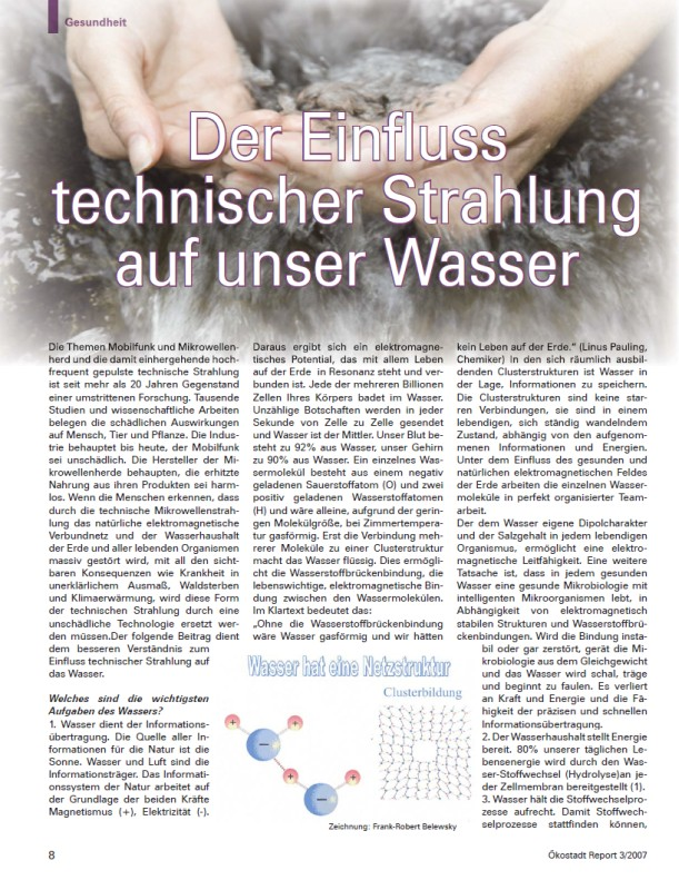 Titelblatt der Publikation : Der Einfluss technischer Strahlung auf unser Wasser