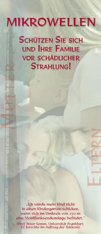 Titelblatt der Publikation : Informationsbroschüre für Eltern: Schützen Sie sich und Ihre Familie vor schädlicher Strahlung!