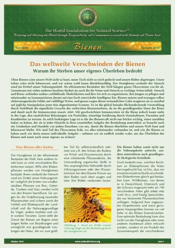 Fact Sheet - Das weltweite Verschwinden der Bienen