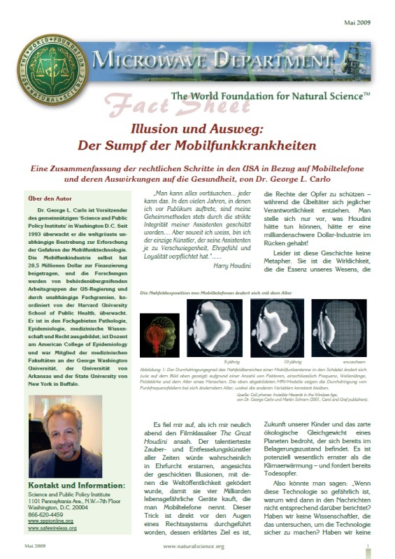 Titelblatt der Publikation : Illusion und Ausweg, der Sumpf der Mobilfunkkrankheiten