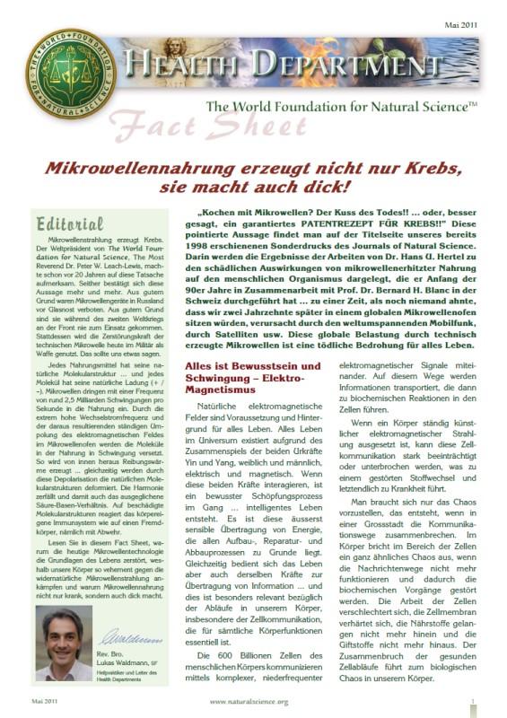 Titelblatt der Publikation : Mikrowellennahrung erzeugt nicht nur Krebs, sie macht auch dick!