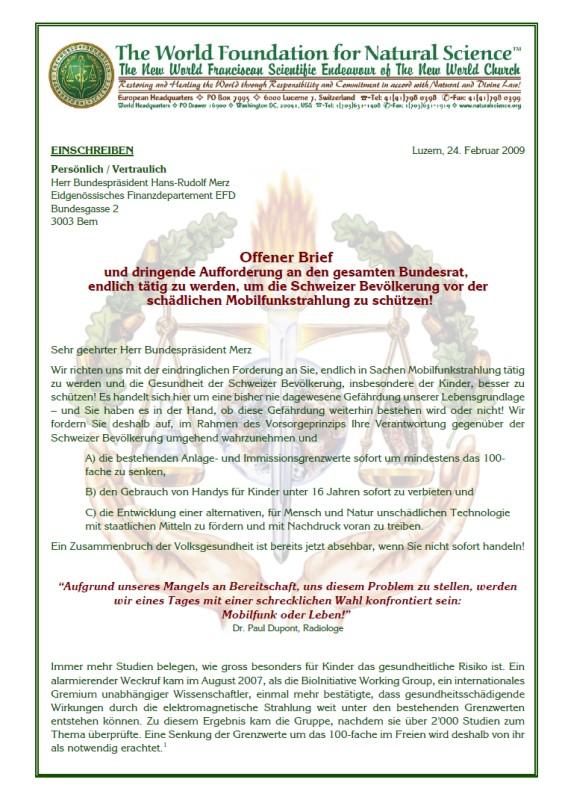 Titelblatt der Publikation : Offener Brief an den Bundesrat Merz