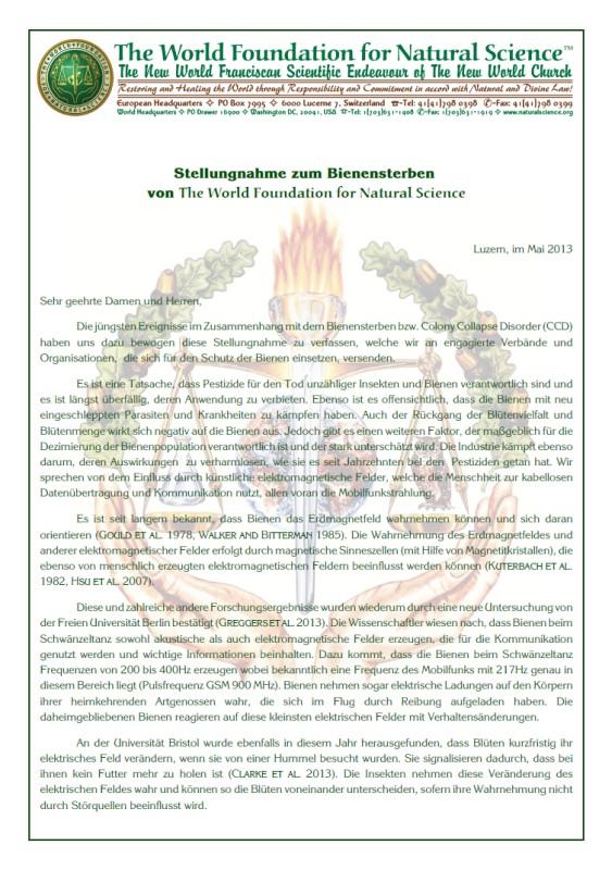Titelblatt der Publikation : Stellungnahme zum Bienensterben