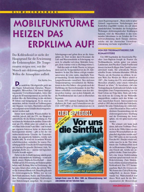 Titelblatt der Publikation : Mobilfunktürme heizen das Erdklima auf!
