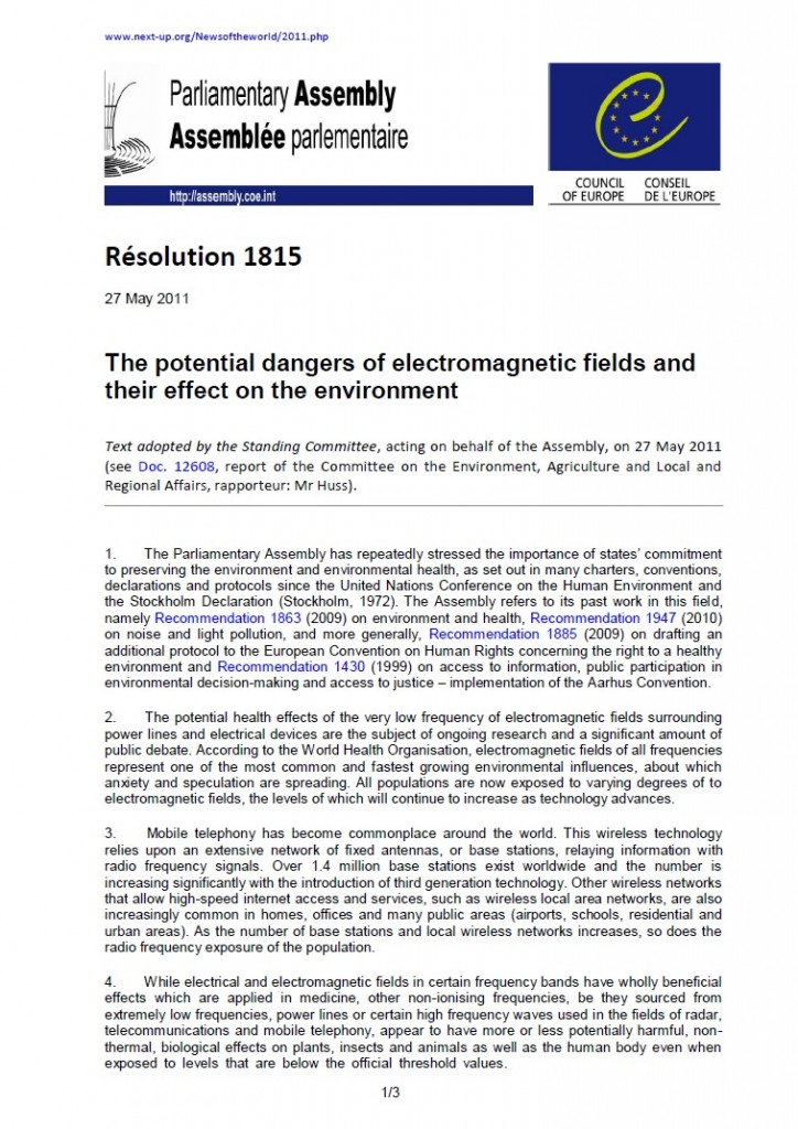Cover of publication : Council of Europe: The potential dangers of electromagnetic fields and their effect on the environment (Resolution 1815)