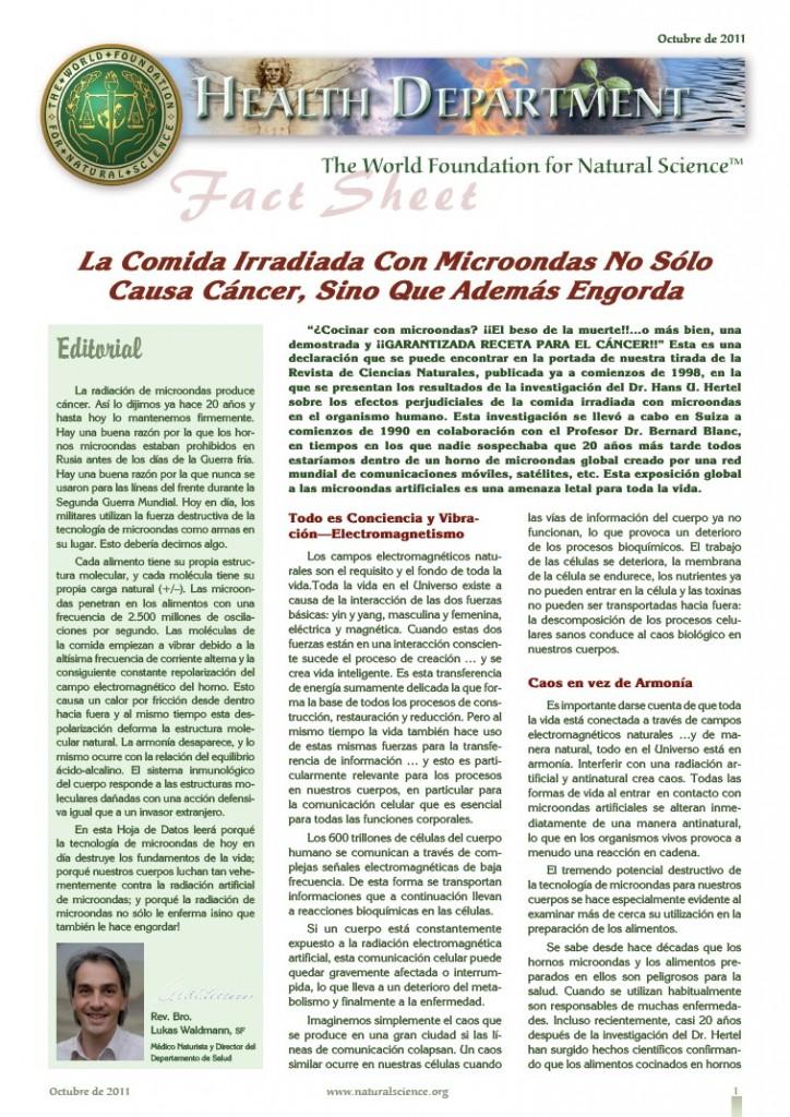 Portada de la publicación: Fact Sheet: La Comida Irradiada Con Microondas No Sólo Causa Cáncer, Sino Que Además Engorda