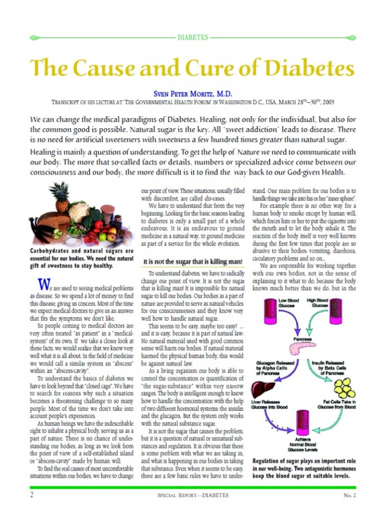 Cover of publication : Special Report: The Cause and Cure of Diabetes
