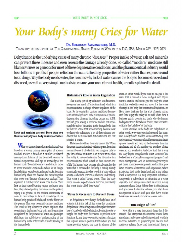 Cover of publication : Special Report: Your Body's many Cries for Water
