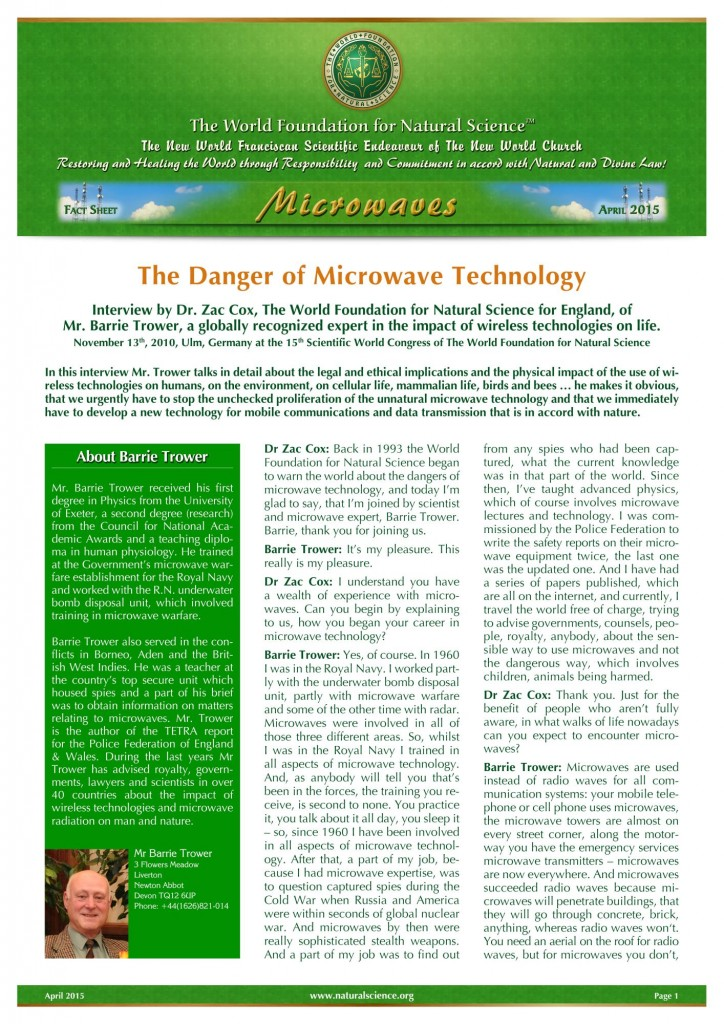 Cover of publication : The Danger of Microwave Technology