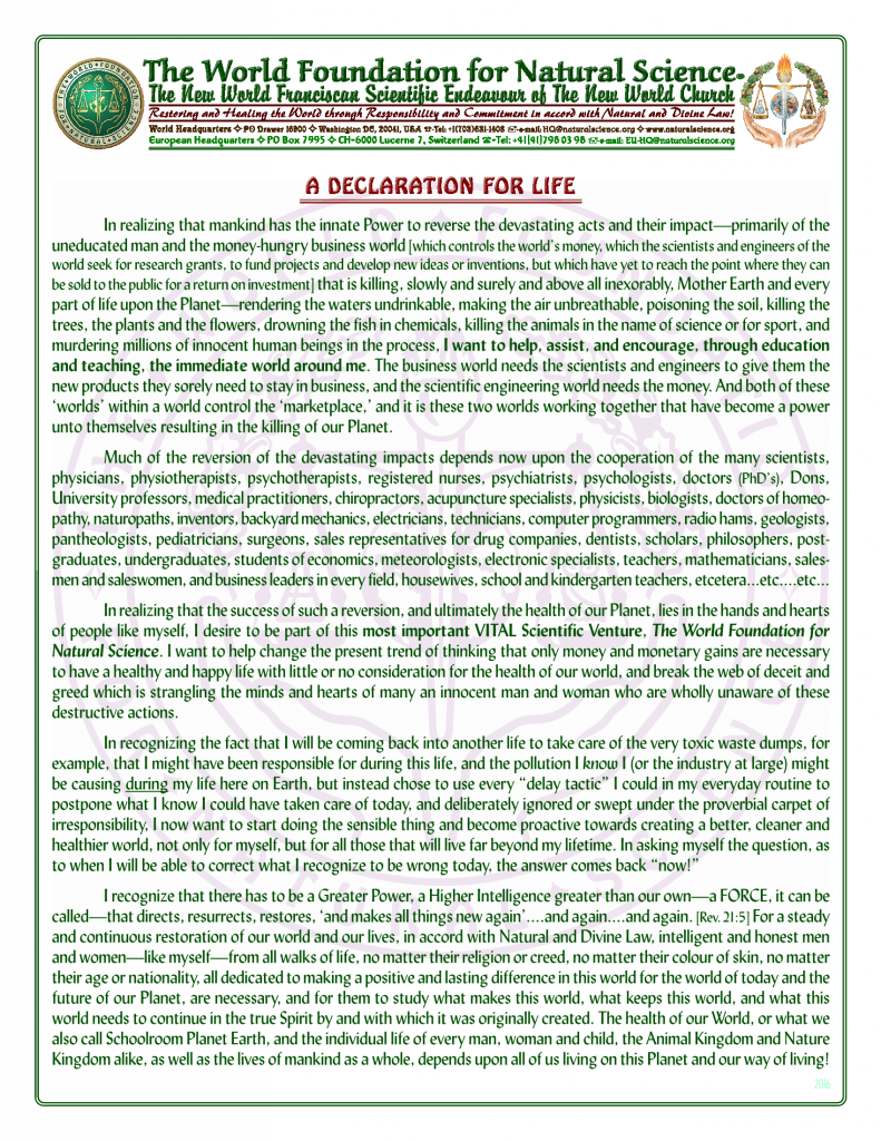 Declaration for life