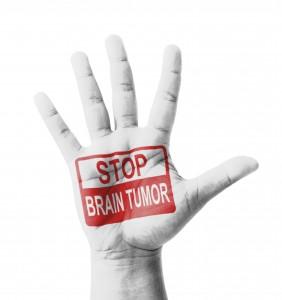 Open hand raised, Stop Brain Tumor sign painted, multi purpose c