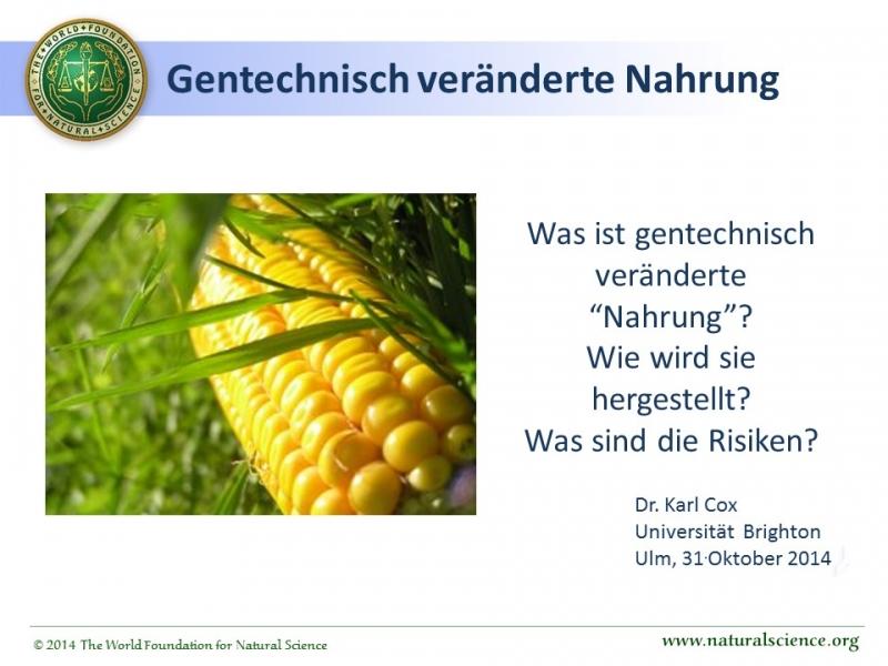 Titelblatt der Publikation : Natürliche Nahrung im Gegensatz zu genetisch veränderter Nahrung