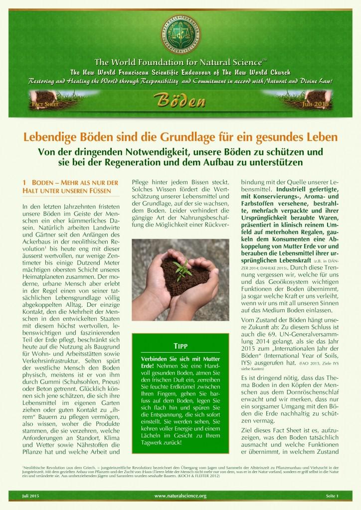 Titelblatt der Publikation : Lebendige Böden sind die Grundlage für ein gesundes Leben