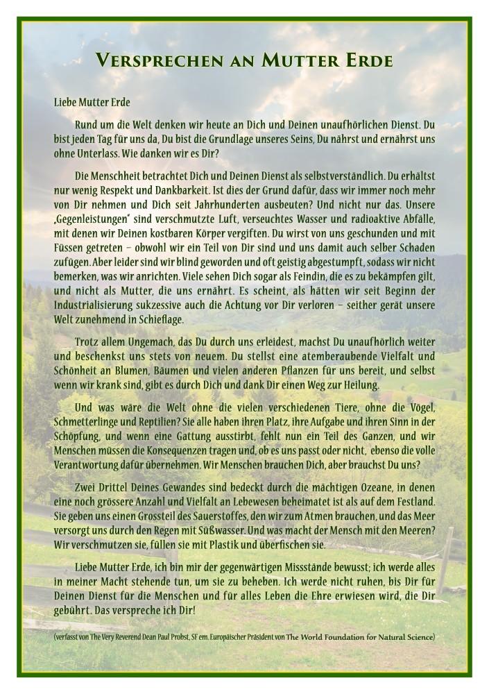 Titelblatt der Publikation : Versprechen an Mutter Erde
