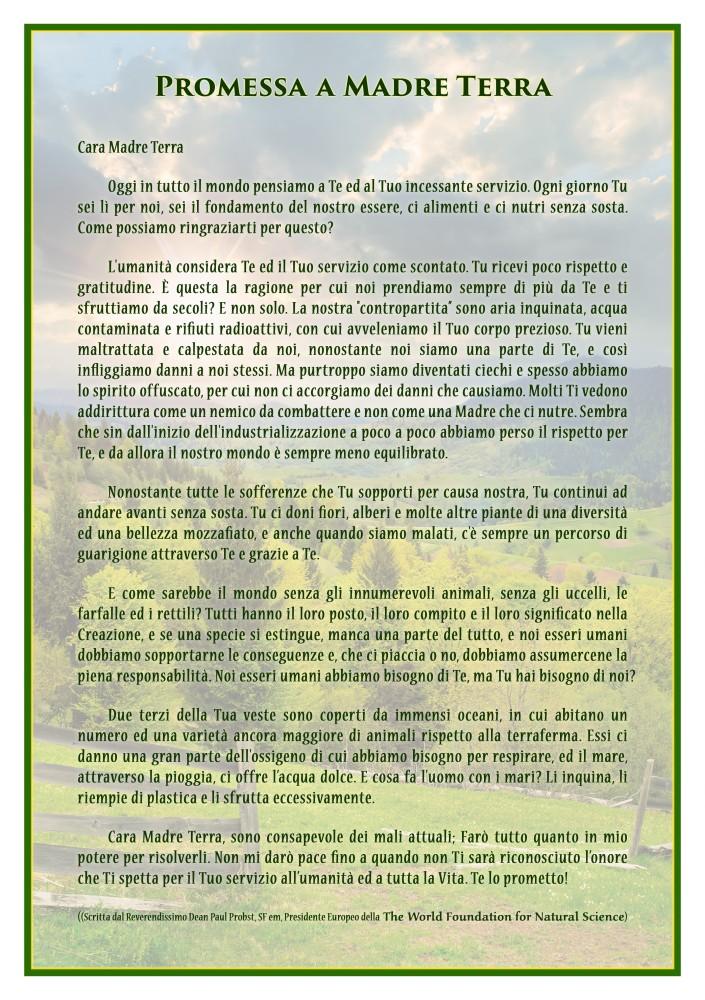 Frontespizio della pubblicazione: Promessa a madre terra