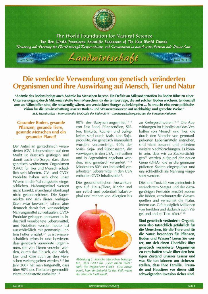 Titelblatt der Publikation : Die verdeckte Verwendung von genetisch veränderten Organismen und ihre Auswirkung auf Mensch, Tier und Natur