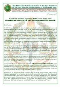 GMO Ban letter to UK Minister