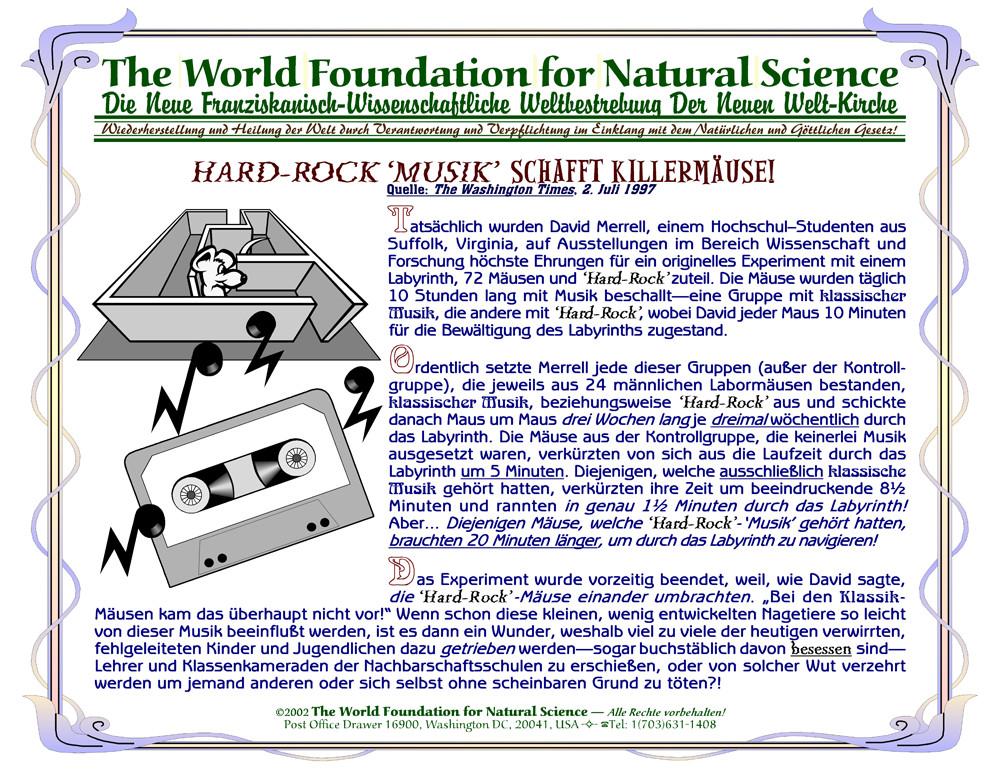 Titelblatt der Publikation : Hard-Rock 'Musik' schafft Killermäuse!