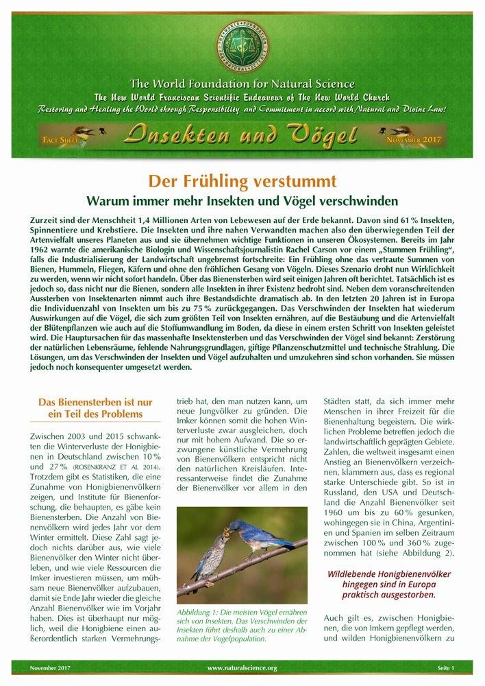 Titelblatt der Publikation : Der Frühling verstummt – Warum immer mehr Insekten und Vögel verschwinden