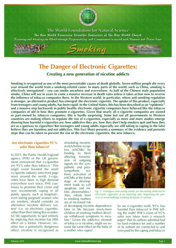 Cover of publication : The Danger of Electronic Cigarettes: Creating a new generation of nicotine addicts