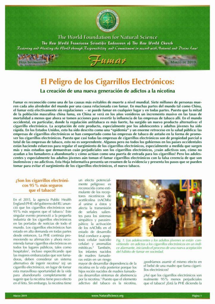 Portada de la publicación: El Peligro de los Cigarrillos Electrónicos: La creación de una nueva generación de adictos a la nicotina