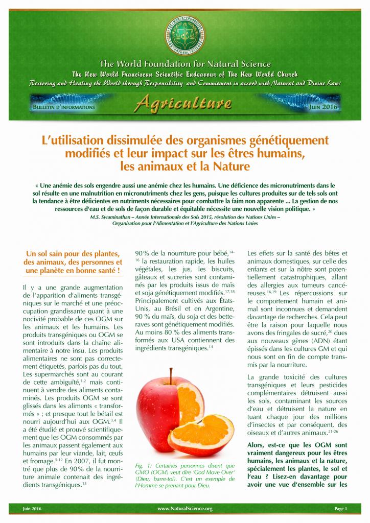 Couverture de la publication: L'utilisation dissimulée des organismes génétiquement modifiés et leur impact sur les êtres humains, les animaux et la Nature