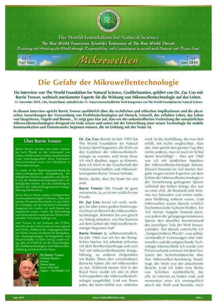 Titelblatt der Publikation : Die Gefahr der Mikrowellentechnologie
