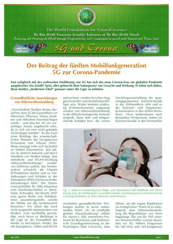Titelblatt der Publikation : Der Beitrag der fünften Mobilfunkgeneration 5G zur Corona-Pandemie